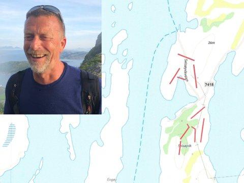 Ute i øyriket planlegges det et frisbeegolfanlegg. - Vi er temmelig sikre på at det kan bli ganske tøft her i havgapet, sier Per Ove Væråmoen.