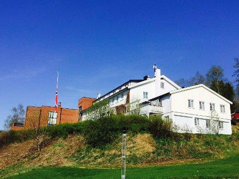 PÅ HALV STANG: Flagget på skolen er firt på halv stang i dag. (Foto: Gaute Freng)