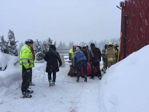 Brannmannskaper jobber for å berge dyr ut av fjøset. Foto: Ole Ludvig Rosenborg