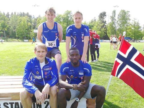 Moelven leverte et knalltid på 4x400 meter i stafett-NM søndag og tok bronse. Bak står Mauritz Kåshagen og Magnus Bentdal Ingvaldsen mens Carl Emil Kåshagen og Jevis Akavama sitter foran.