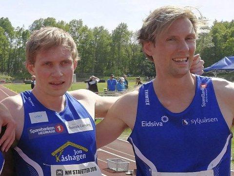Går for rekord på 300 meter: Carl Emil og Mauritz Kåshagen løper om pengepremier onsdag.