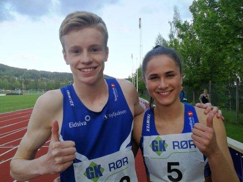 Moelven-jubel: Håvard Bentdal Ingvaldsen og Sigrid Kongssund Amlie suste under drømmekravpå 200 meter tirsdag kveld.