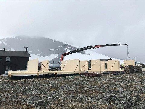 Nybygg i høyden: Lismarkingen Lars Even Markrud har ansvaret for å sette opp hytta på 1860 meter over havet.