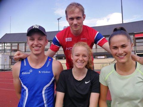 GOD BLANDING: Carl Emil Kåshagen (bak) har deltatt i 11 senior-NM tidligere mens Lavrants Kongssund, Maren Bakke Amundsen og Sigrid Kongssund Amlie er sylferske i NM-sammenheng.