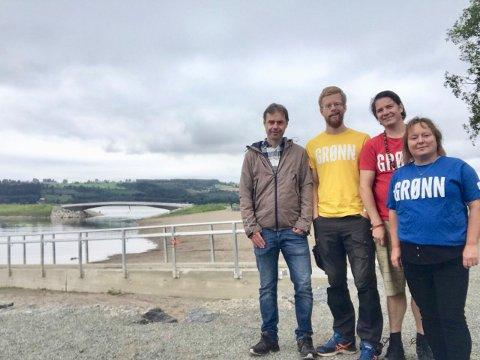 Strandsona: Arild Gamme, Håvard Hageberg, Thomas Eriksen og Gunhild Bjødal i Ringsaker MDG er opptatt av at det skal være mulig å gå i langs strandsona i Mjøsa.