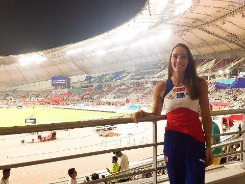Fantastisk: Lene Retzius på VM-stadion fredag kveld. Hun fikk ikke fullklaff i konkurransen, men opplevelsen var fantastisk, melder hun.