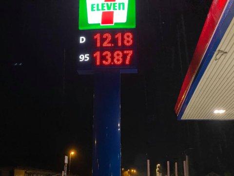 Billig: Drivstoffprisene har vært hyggelig mandag morgen de siste ukene. Her er prisene i Moelv mandag morgen.