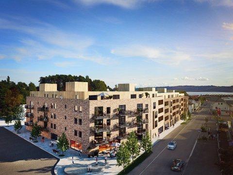 BYUTVIKLING: Med forretningslokaler i første etasje, moderne leiligheter av forskjellig type oppover i etasjene, ønsket Høyen og Ø.M. Fjeld å utvikle kvartalet. To arkitektfirmaer leverte sine forslag, og her er det ene. Høyen fortsetter nå prosjektet.
