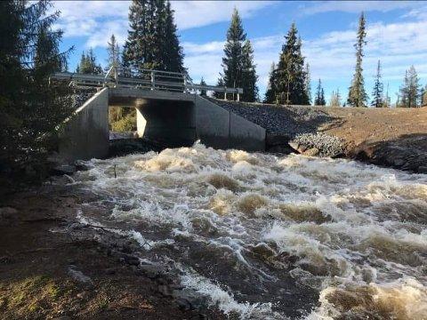 MYE VANN: Store nedbørsmengder og dermed mye vann i bekker og elver førte til skader på flere veger i Ringsakfjellet mandag.