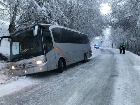 I GRØFTA: Bussen, som fraktet ti passasjerer havnet i grøfta.