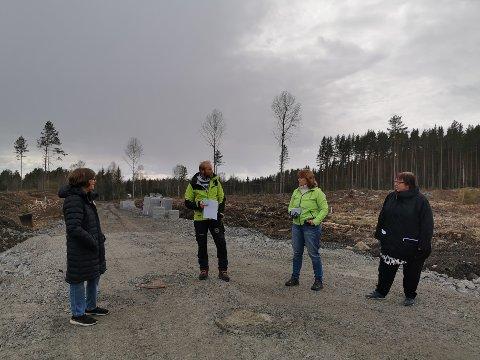 Samtale om Den grønne industrien i Innlandet . Fra venstre Grethe Mikaelsen leder Stange AP, Almenningsbestyrer Gaute Nøkleholm i Romedal og Stange Almenning,  Anne Karin Torp Adolfsen leder Løten AP og Hilde Nyutstumoen leder Hamar AP.