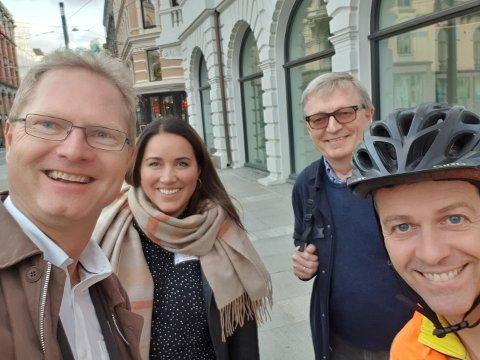 MØTE I OSLO: Tor Andre Johnsen (Frp), Charlotte Veland Hoven (KrF) og Oluf Maurud (KrF) møtte onsdag samferdselsminister Knut Arild Hareide (KrF) i Oslo.