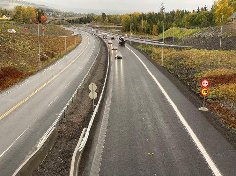 Stengt for avkjøring: På grunn av asfaltering er avkjøringsrampen i Økelsrudkrysset og på Rudshøgda stengt for bilister som kjører nordover på E6.