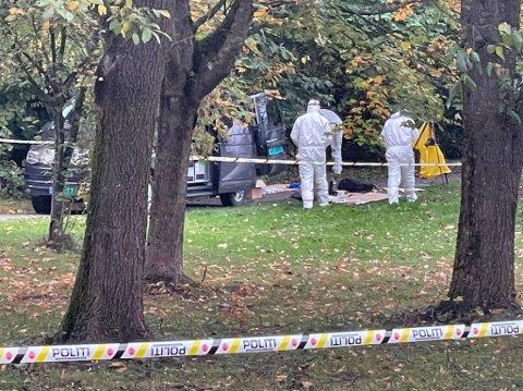 FUNNET DØD: En person ble funnet død i Hamar tidlig tirsdag ettermiddag. Kriminalteknikere jobbet på stedet utover dagen. Sperringene er nå fjernet.