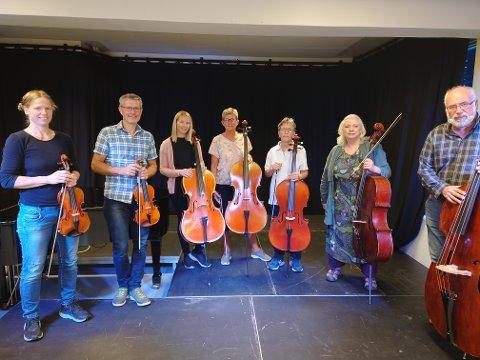 Samspillgruppe: Fra venstre: Line Gertrud Lundstein - fiolin, Olaf Aasen - fiolinlærer, Mette Hjelmås - cello, Kristiane Hulleberg - cello, Mary Dulac - cello og Benedicta Gray - cellolærer/rektor.
