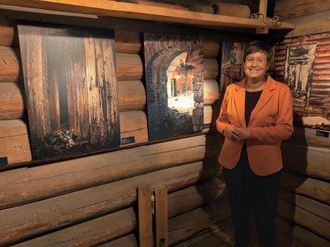"""Fotoutstilling: Cathrine S. Øverby (bildet) og Marte Guldbrandsen er kunstnerne bak fotoprosjektet """"Hematt - forlatte bygninger i Hedmark"""". Bildene står nå utstilt i stabburet på Mo gård i Moelv."""