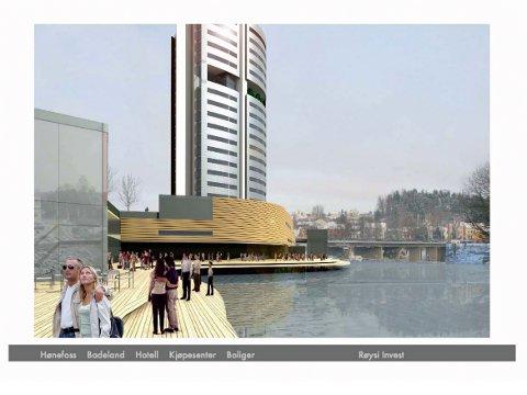 Slik så skissen Røysi la fram i 2007 ut. Med en høyde på rundt 60 meter skulle Oddvar Røysis hotell bli et landemerke. Arkitekturen var ikke ulik hotellet som Røysi planla på Kefas-tomta i Drammen. Det ble heller ikke noe av, for øvrig. Illustrasjon: Halvorsen og Reine Arkitekter AS