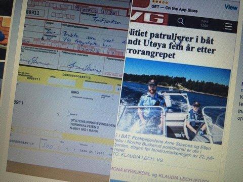 Bilde fra Facebook av VG-oppslaget og det forenklede forelegget, gjengitt med tillatelse.