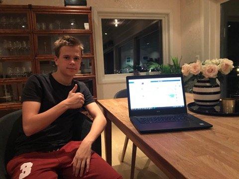 Tusen takk: – Jeg vil takke alle sammen, uansett bidrag, for at de ga penger til Kreftforeningen! Uten deres hjelp ville jeg aldri ha nådd målet mitt, sier nå 16 år gamle Magnus Stevnebø.