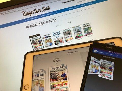 Du kan lese papirutgaven av Ringerikes Blad digitalt, på både pc, mobiltelefon og nettbrett. Dette er inkludert i alle abonnement.