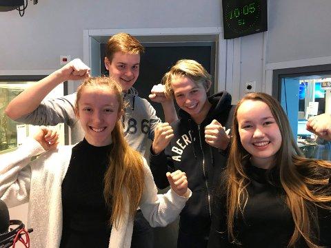 TIL OSLO: Etter påske skal (fra venstre) Annie Bråthen, Mantas Karveckis, Henrik Frog Mandt og Sofia Isabel Jarstad til Oslo for å gjøre TV-opptak.
