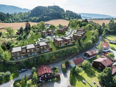 SENTRALT: Boligprosjektet ligger på en høyde ovenfor E16 og har utsikt, samtidig som det ligger sentralt ved kommunesenteret.