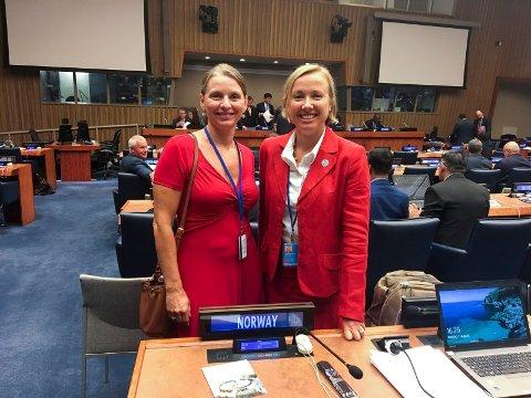 FN-ARBEID: Laila Løvhøiden (til venstre) og Anne Jørgensen fra Kartverket deltok på møter i FN-hovedkvarteret i New York.