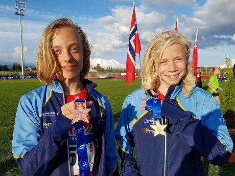 LOVENDE UTØVERE: Valentin Jensen og Viljar Kjølstad Wikfjord var to av fire lokale friidrettstalenter i Lerøy-lekene. De leverte gode resultater.