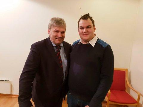 POSITIVE: Ordfører Kjell B. Hansen (Ap) og Jim Hagen Warp (Ap) ønsker seg begge et julemarked i Hønefoss sentrum. Nå skal det jobbes videre med planene.