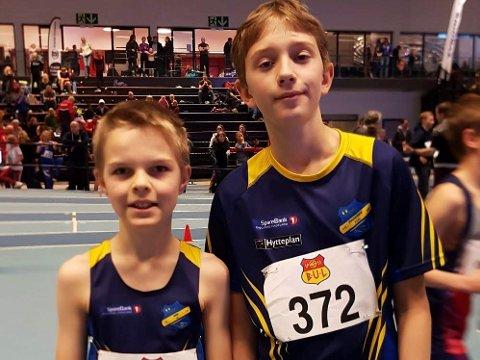 TALENTER: Dennis Lukkedal (12) og Iver Johan Andreassen-Holm (12) under julestevnet i Bærum Idrettspark.