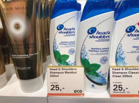 INGEN FORSKJELL: De fleste produktene har lik pris på samme produkt.