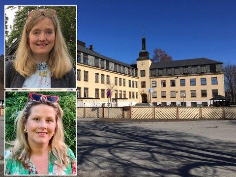 Foreldrene Nina Gabrielsen og Kristin Grov anbefaler folk som vil bevare Hønefoss skole om å stemme på et av partiene som klart har sagt at de vil reversere vedtaket om å legge ned Hønefoss skole.