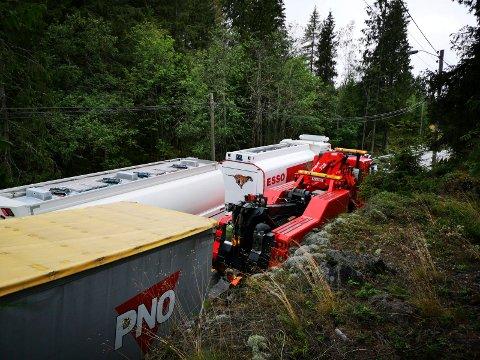 Vogntog mistet henger på E16 ved Sollihøgda, og det er ikke første gang det skjer.