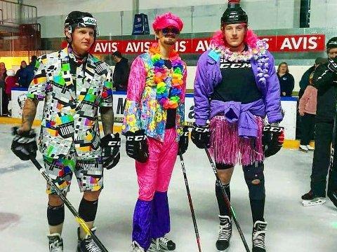 DISKO: Slik så det ut da Ringerike Panthers, med Robin Bjørnstad, Andreas Adolfsen og Dennis Ryttar, arrangerte diskokveld i Schjongshallen.
