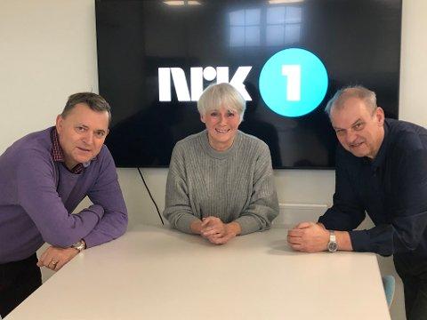 NRK-INVTIASJON: Nils Helle, Lise Bye Jøntvedt og Runar Johansen i Ringerike Høyre ser gjerne at statskanalen slår seg ned på Ringerike.