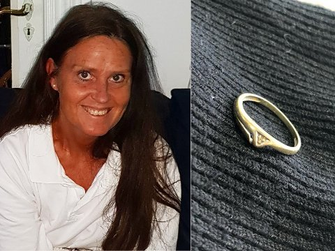LYKKELIG EIER: – Det var veldig sårt da ringen forsvant. Nå kommer jeg til å bruke den igjen. Hver dag, forsikrer Christine Therese Bjørnstad fra Hønefoss.