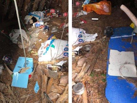 SØPPEL: Da Rebecca Dahlen Hamar og familien var på tur til det gamle granittbruddet på Grua fant de mengder med søppel.