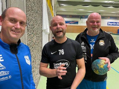 RUTINE: – Håndballen holder oss unge, sier denne trioen på tilsammen 138 år. Fra venstre: Johnny Edvinsen, Brede Drange Tronhus og Kristian Brandenberger.