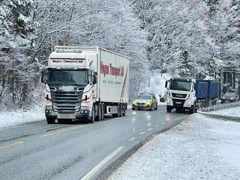 HAVARERTE: Trafikken dirigeres på E16 i Hole etter at en semitrailer fikk trøbbel med fremdriften.