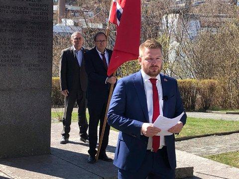 1. MAI: Håkon Ohren holdt årets 1. mai-appell i Nordre Park. I år var det bare samlet noen få personer på grunn av smittevernhensyn. I talen tok Håkon Ohren opp psykisk helse og de økende forskjellene i Norge.