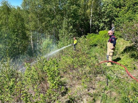 SLOKKEARBEID: Brannvesenet kom raskt fram til der det var en liten brann i en skråning langs Viulveien. Brannen ble slokket etter kort tid.