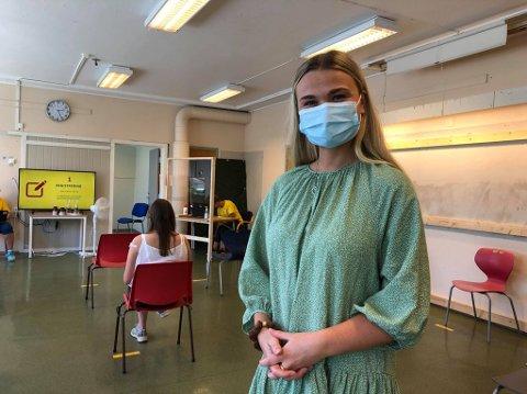 FIKK VAKSINE: Maren Moi Alme fikk denne uken sin første vaksinedose i Ringerike.
