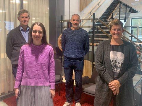 FÅTT NYTT NAVN: De ansatte har fått være med på prosessen med å velge nytt navn, melder selskapet. Fra venstre:  Jan-Erik Brattbakk, Irina Pirozhinskaia, Morten Sjaamo og Ina Haug.