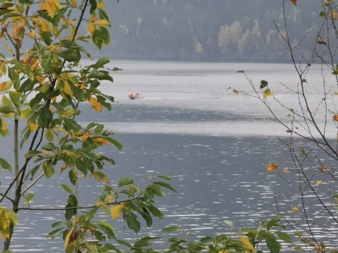 REDDET: Storutrykningen blant annet med brannstasjonens redningsbåt bringer her funnet til land.