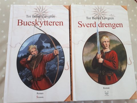 TO AV 3 BIND: Bind 1 og Bind 2, slik de ser ut i hard-cover. Illustratør forside: Anders Kvåle Rue, som er fra Svartdal i Hjartdal.