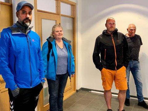 VIKTIG MØTE: Satvir Singh Parmar, Helle Koppang, Thomas Wullum og Terje Forsmo hadde på tirsdag et etterlengtet møte om etablering av fiber på Gausta.