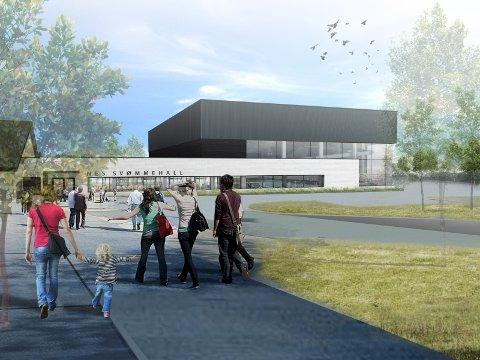 POPULÆRT OBJEKT: Kampen er stor om å få utsmykke en stor betongvegg i Nes Svømmehall.Tegning: Vindveggen Arkitekter AS