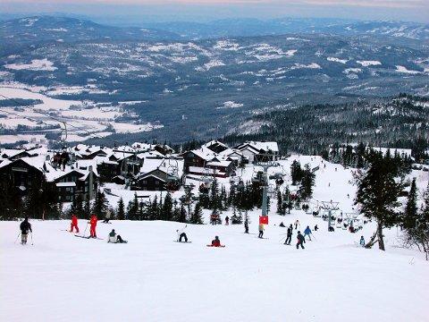 20040102. Norefjell, klart i bakken, mennesker står slalom, Hyttebyen i bakken reklamerer med ski-in. Slalåm. Foto: Berit Keilen / Scanpix