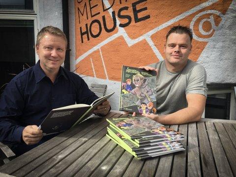 Øyvind Sveen og Ivan Emberland står bak den nye tegneserieboka om Rælingen.