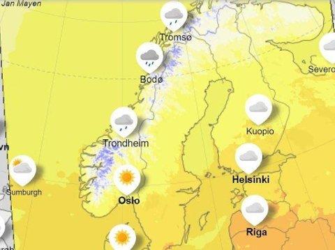 VÆRUTSIKTENE: Værkartet på yr.no viser temperaturutsiktene for de nærmeste dagene.